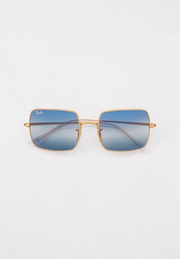 женские квадратные солнцезащитные очки ray ban, золотые