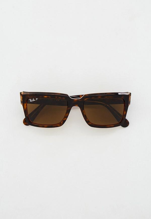 женские квадратные солнцезащитные очки ray ban, коричневые