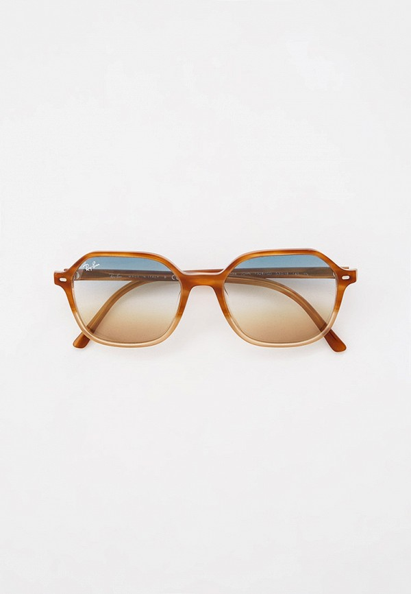 женские квадратные солнцезащитные очки ray ban, бежевые