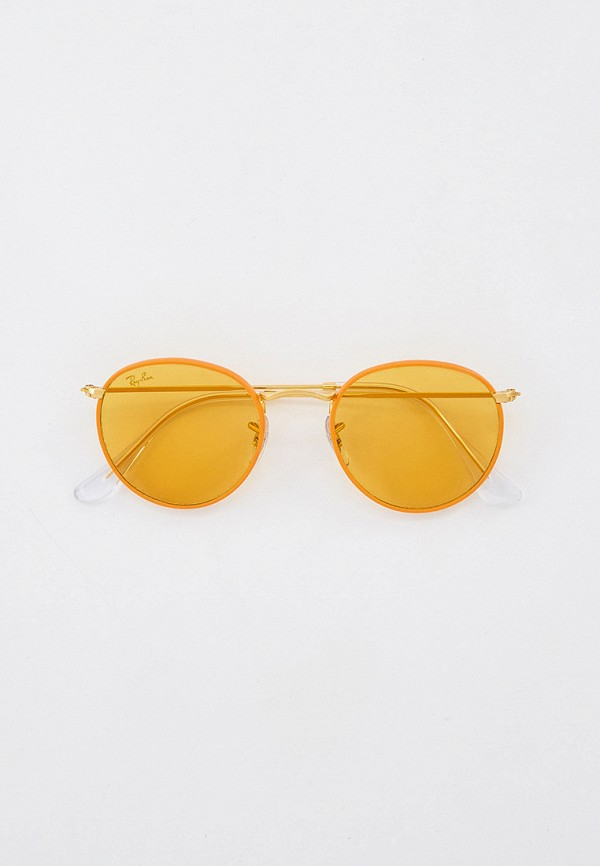 женские круглые солнцезащитные очки ray ban, оранжевые