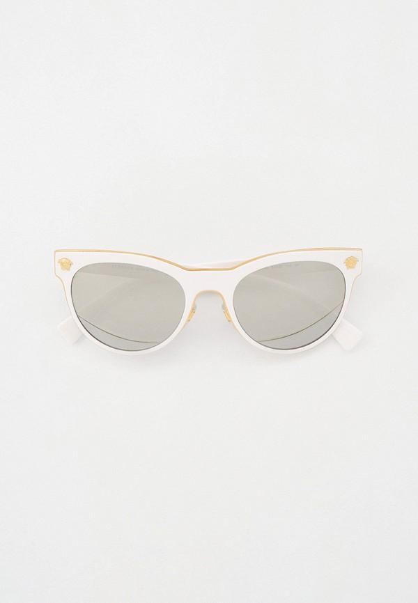 женские солнцезащитные очки кошачьи глаза versace, белые