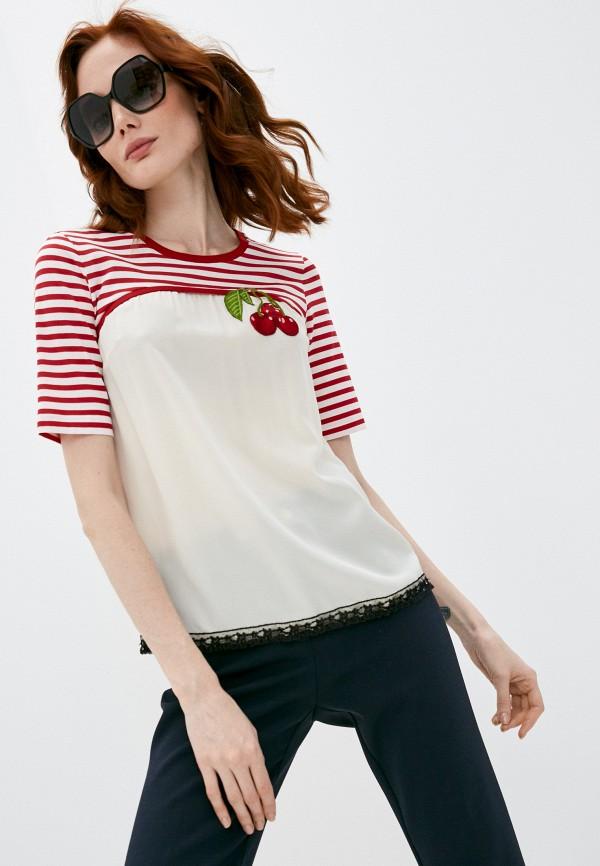женская блузка с коротким рукавом dolce & gabbana, бежевая
