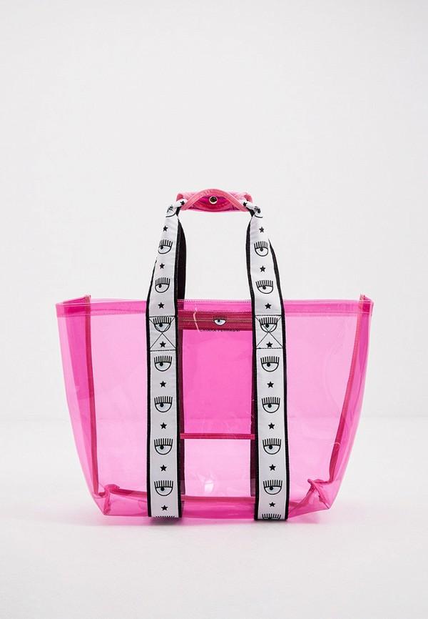 женская пляжные сумка chiara ferragni collection, розовая
