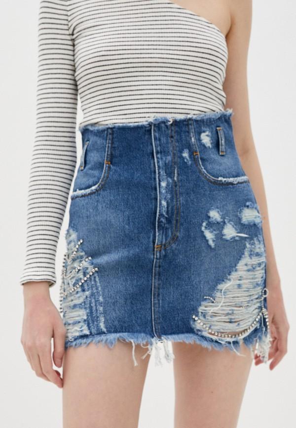 женская джинсовые юбка chiara ferragni, синяя