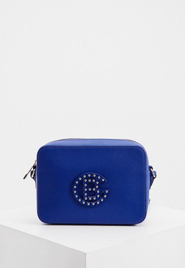 женская сумка через плечо baldinini, синяя