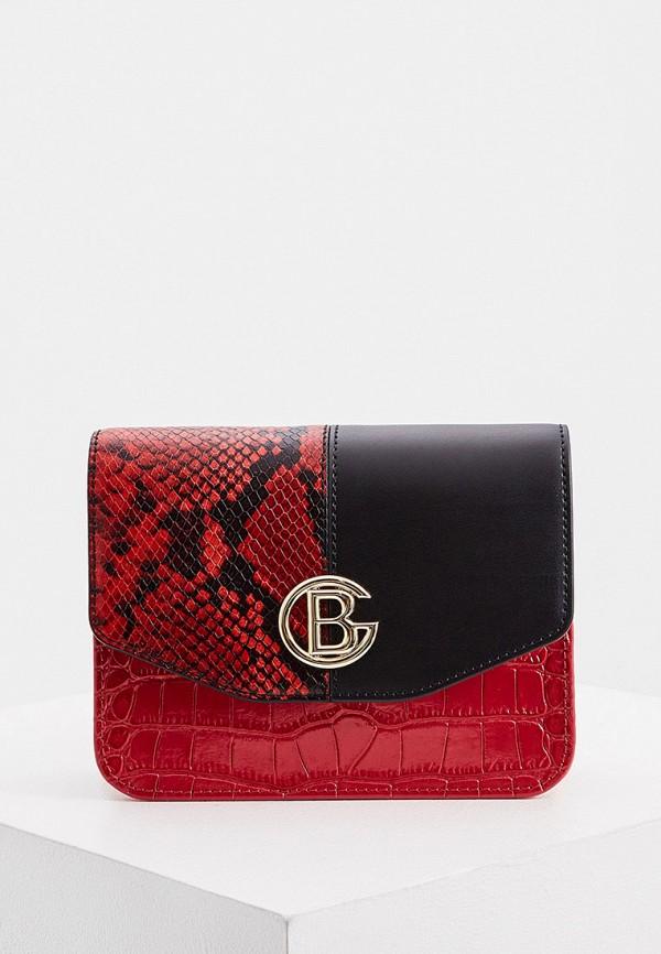 женская сумка через плечо baldinini, красная