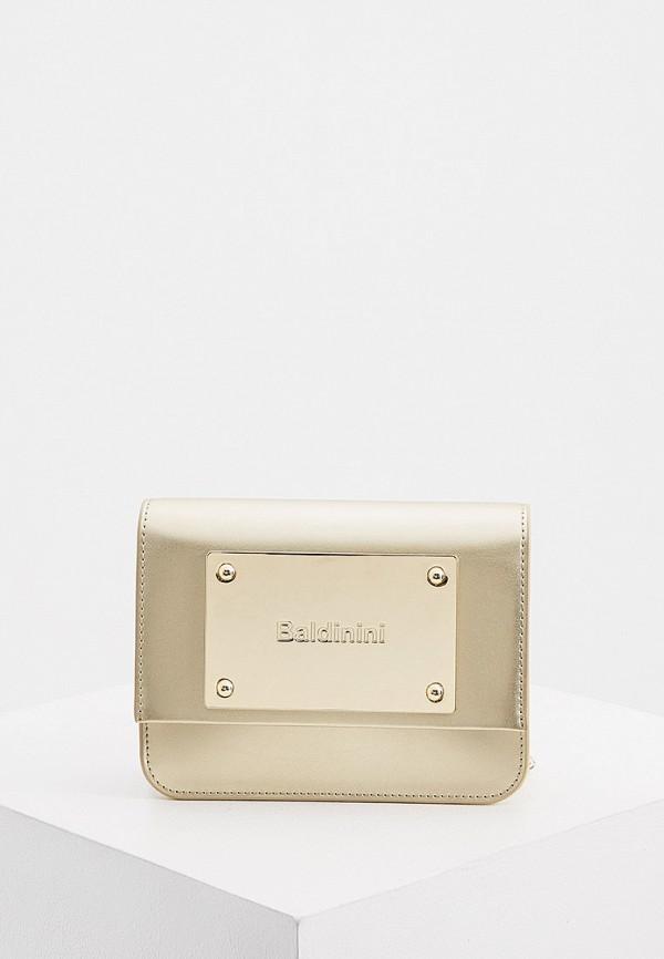 женская сумка через плечо baldinini, золотая