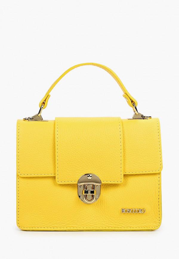 женская сумка с ручками bosccolo, желтая