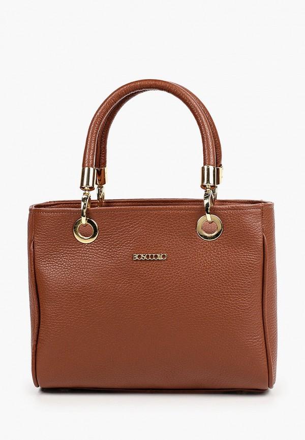 женская сумка с ручками bosccolo, коричневая