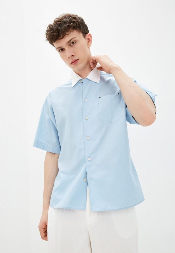 мужская рубашка с коротким рукавом marni, голубая