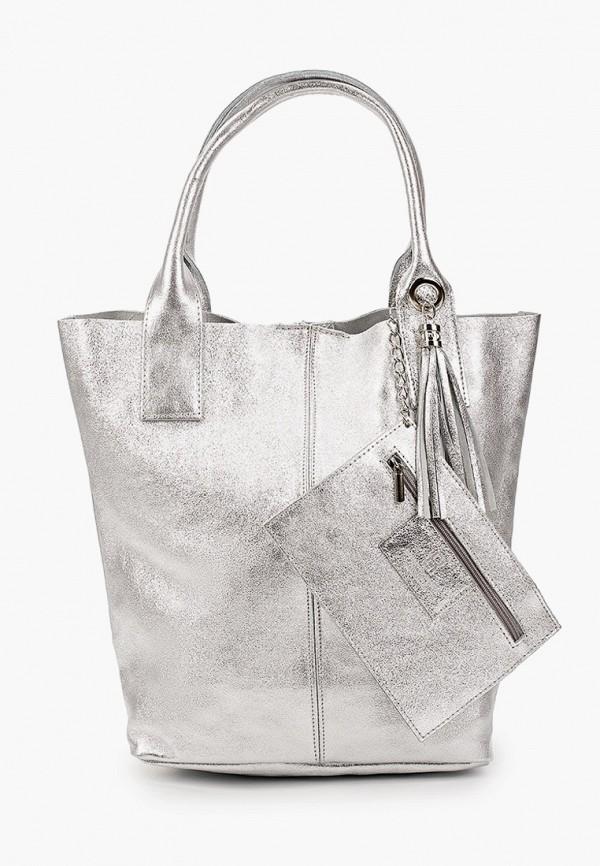 женский кошелёк с ручками roberto buono, серебряный