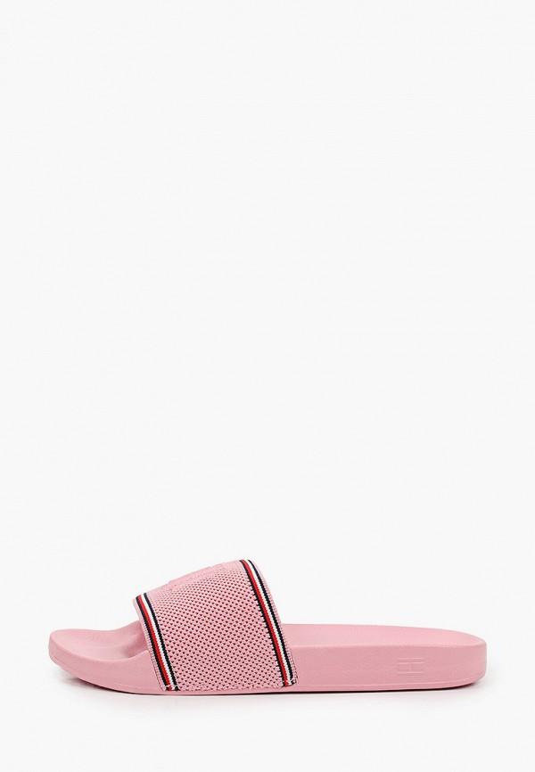 женские сланцы tommy hilfiger, розовые