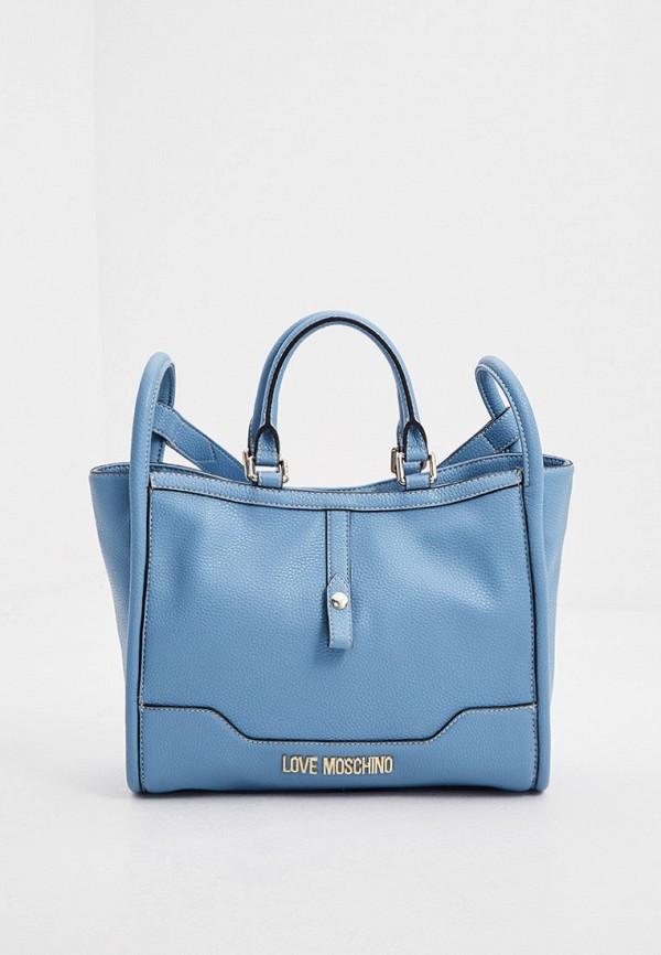 женская сумка с ручками love moschino, голубая