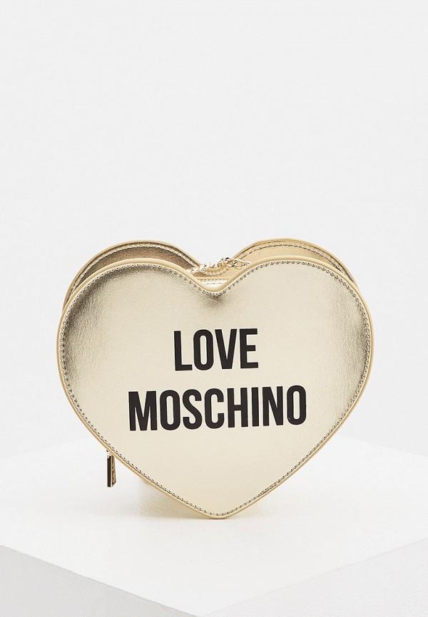 женская сумка через плечо love moschino, золотая