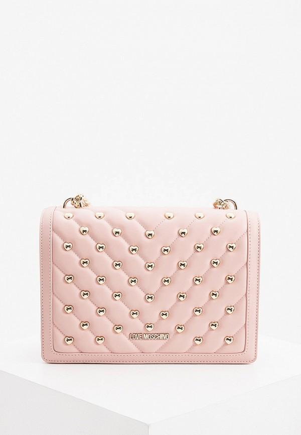 женская сумка через плечо love moschino, розовая
