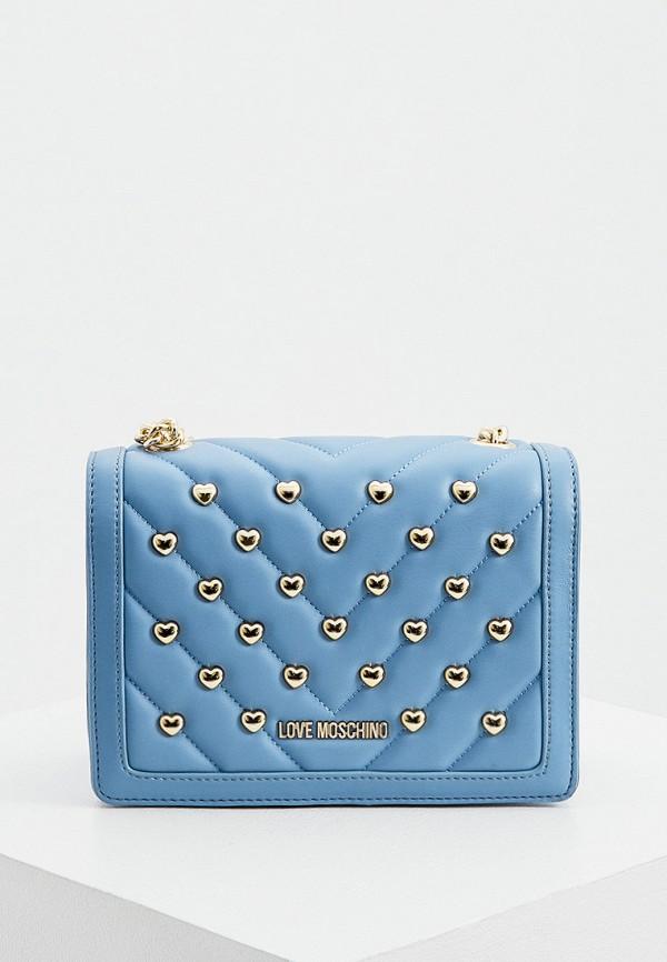 женская сумка через плечо love moschino, голубая