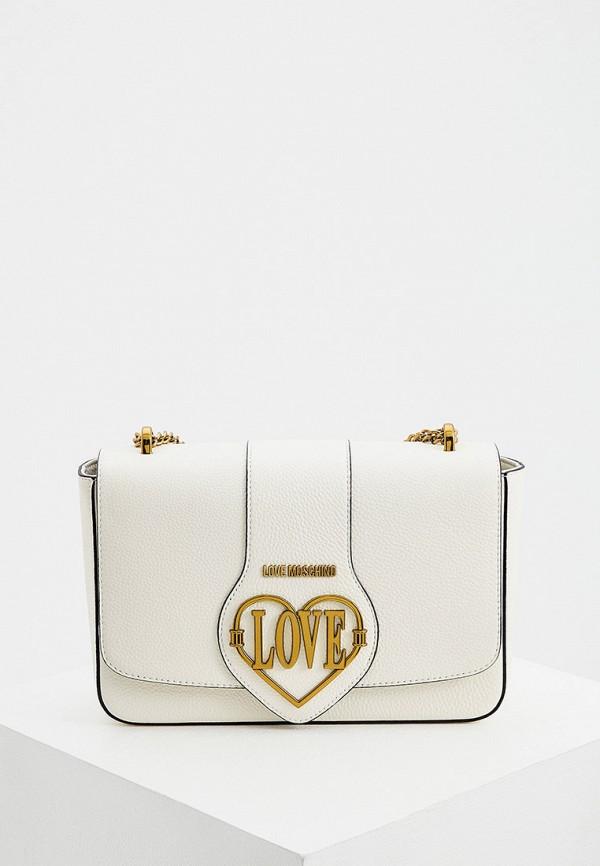женская сумка с ручками love moschino, белая