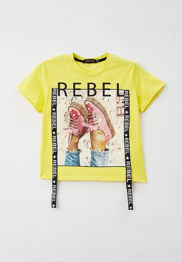 футболка с коротким рукавом dali для девочки, желтая