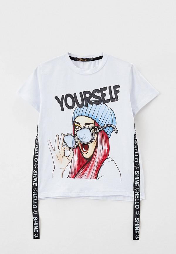 футболка с коротким рукавом dali для девочки, белая
