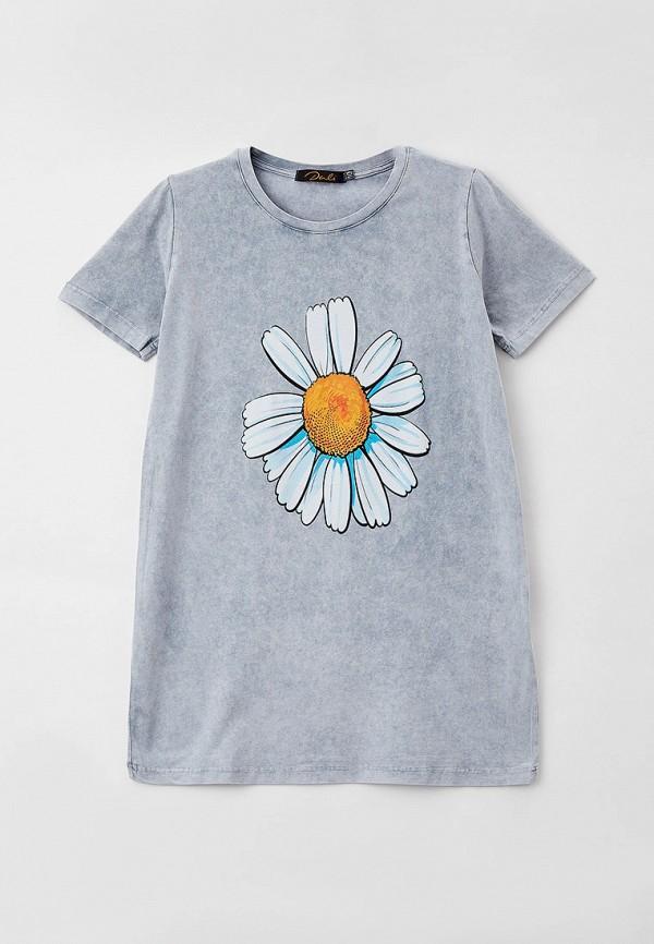 футболка с коротким рукавом dali для девочки, серая