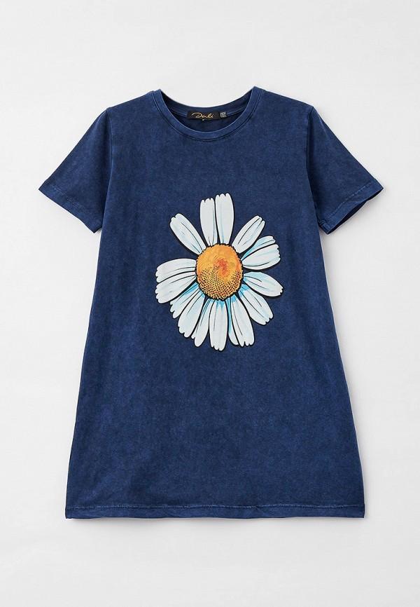 футболка с коротким рукавом dali для девочки, синяя