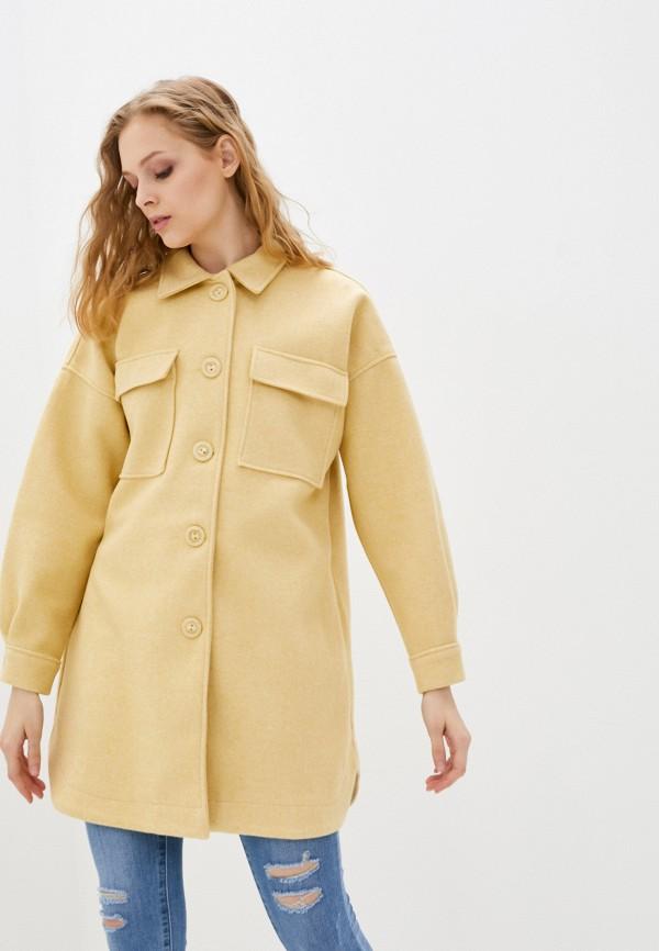 женское пальто moda sincera, желтое