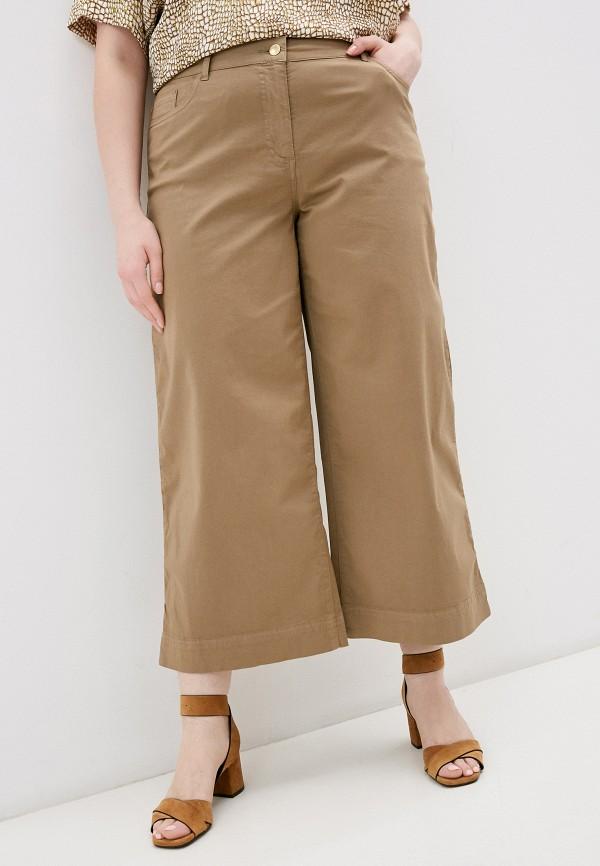 женские брюки клеш persona by marina rinaldi, коричневые