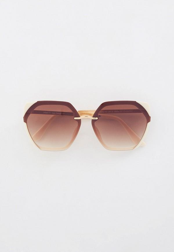 женские квадратные солнцезащитные очки fabretti, бежевые