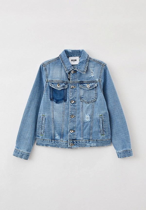 Куртка джинсовая MSGM Kids синего цвета