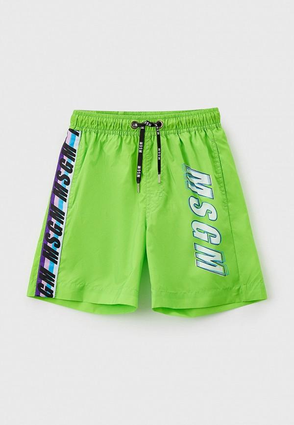 Шорты для плавания MSGM Kids зеленого цвета