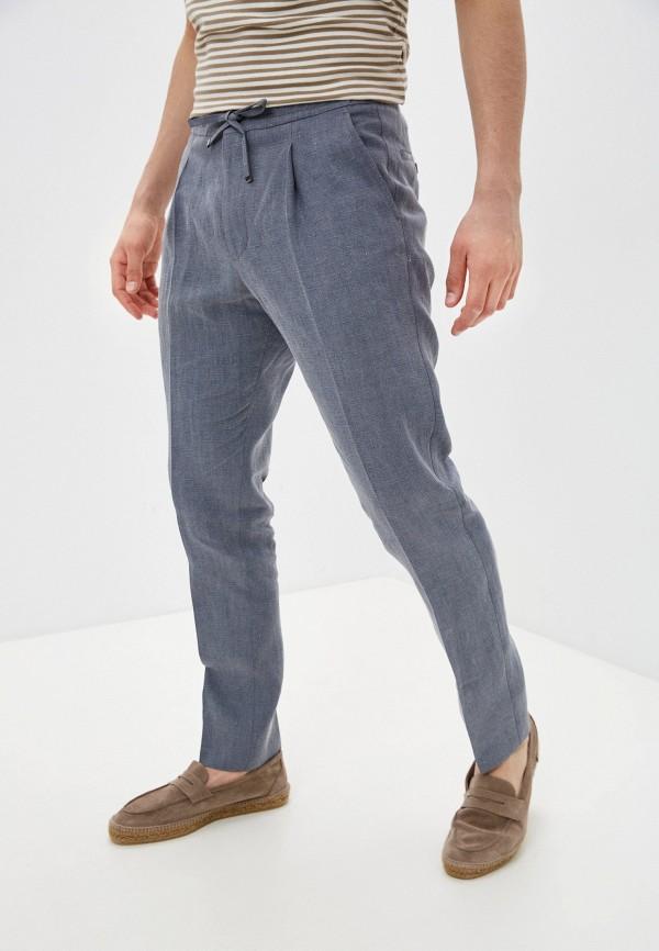 мужские зауженные брюки corneliani, серые