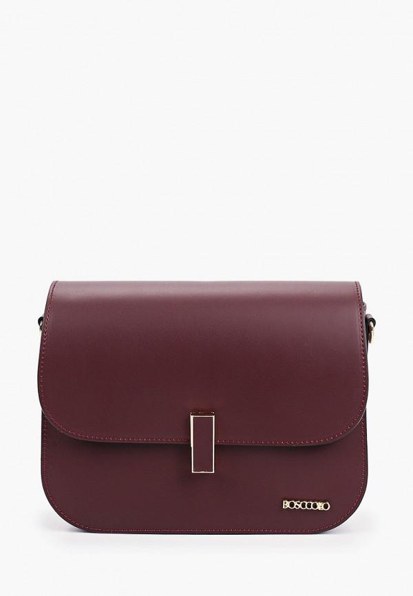 женская сумка через плечо bosccolo, бордовая