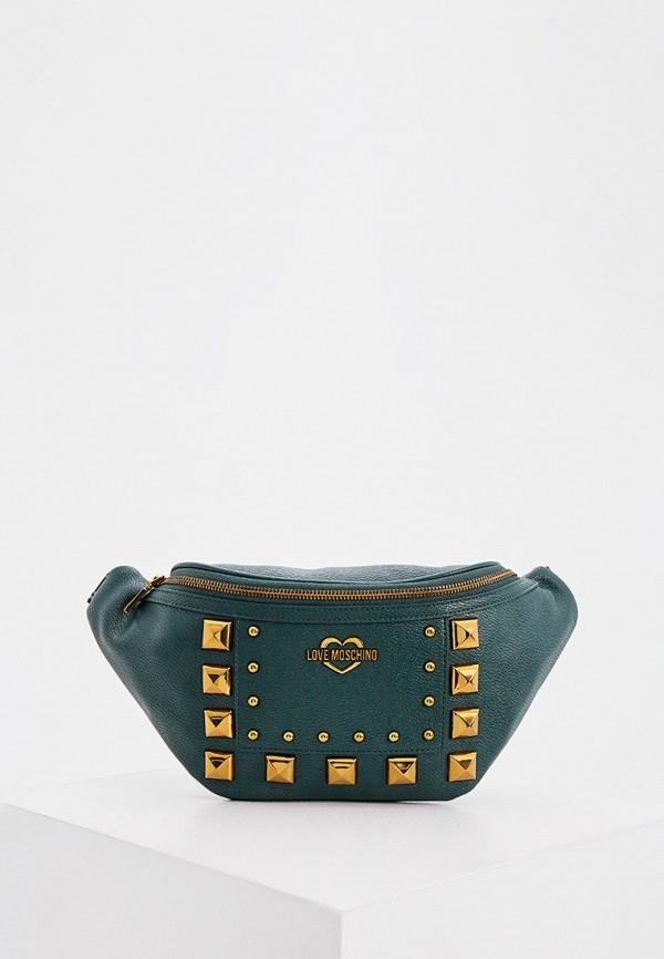 женская поясные сумка love moschino, зеленая