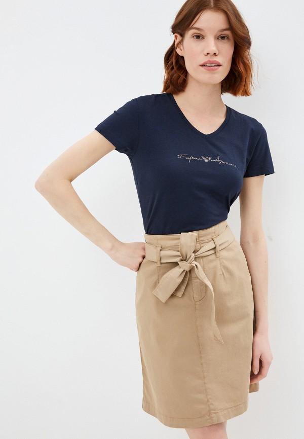 женская футболка emporio armani, синяя