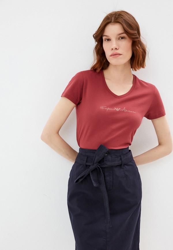 женская футболка emporio armani, бордовая