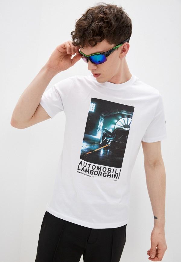 мужская футболка automobili lamborghini, белая