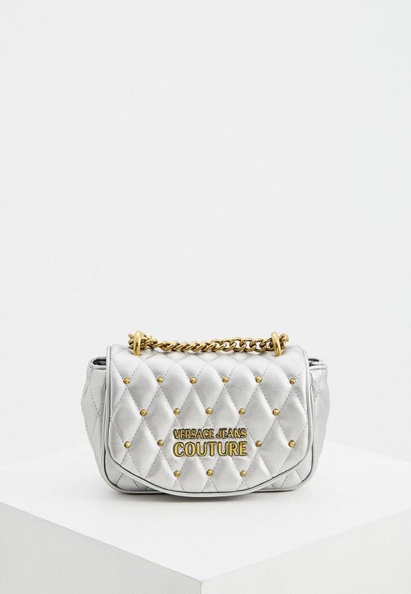 женская сумка через плечо versace, серебряная