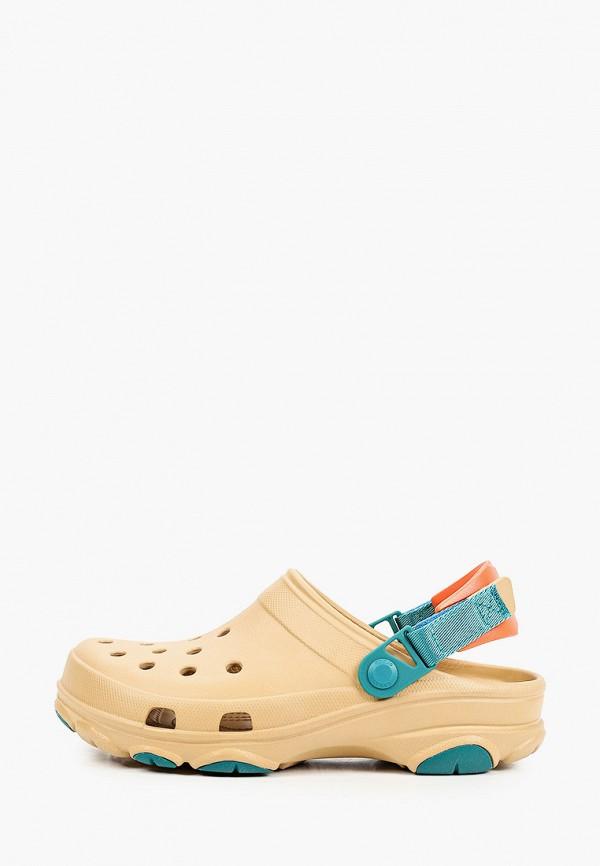 женское сабо crocs, бежевое