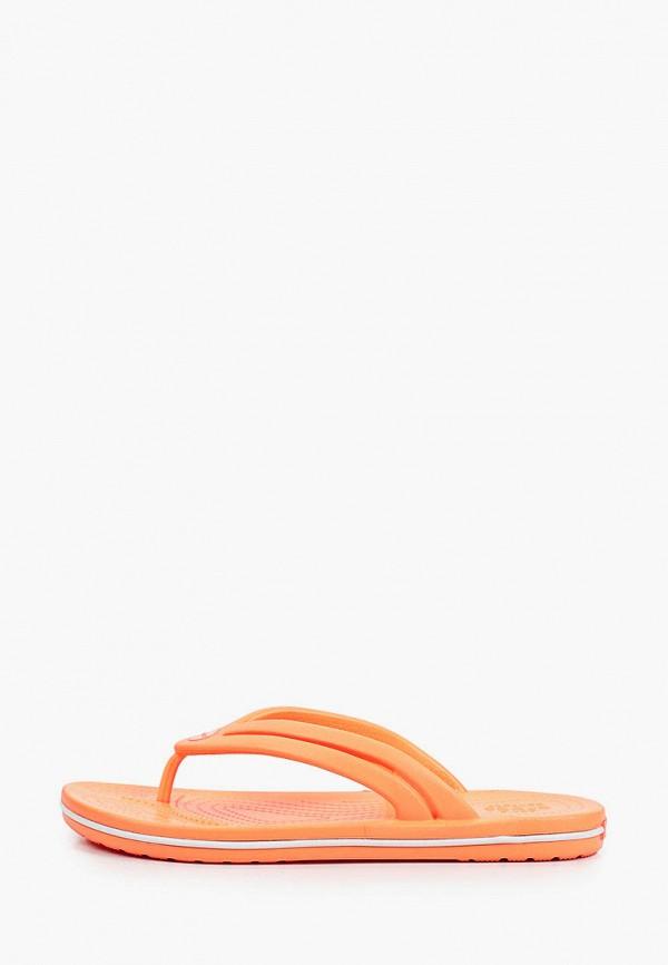 женские сланцы crocs, оранжевые