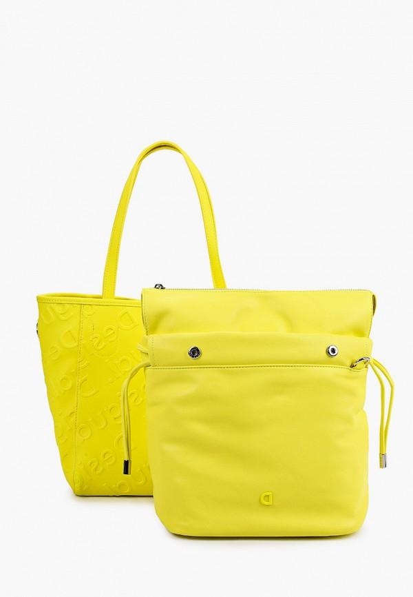 женская сумка с ручками desigual, желтая