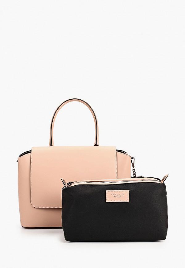 женская сумка с ручками tosca blu, розовая