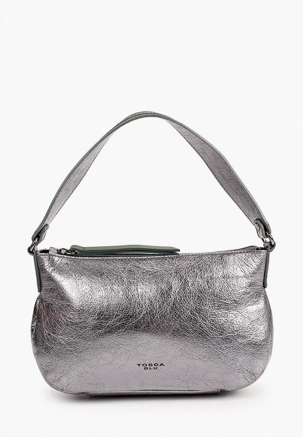 женская сумка с ручками tosca blu, серебряная