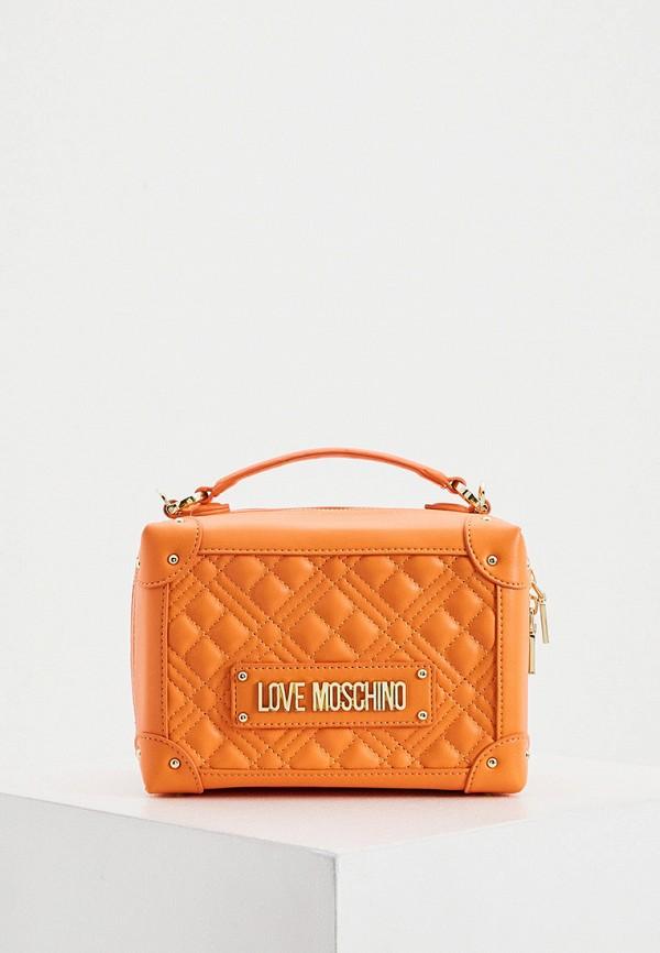 женская сумка с ручками love moschino, оранжевая