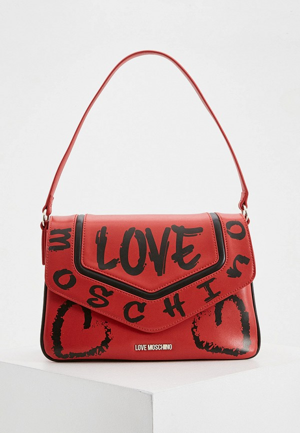 женская сумка с ручками love moschino, красная