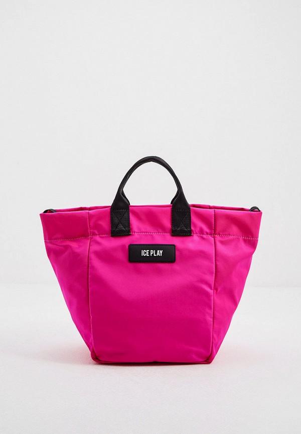 женская сумка с ручками ice play, розовая