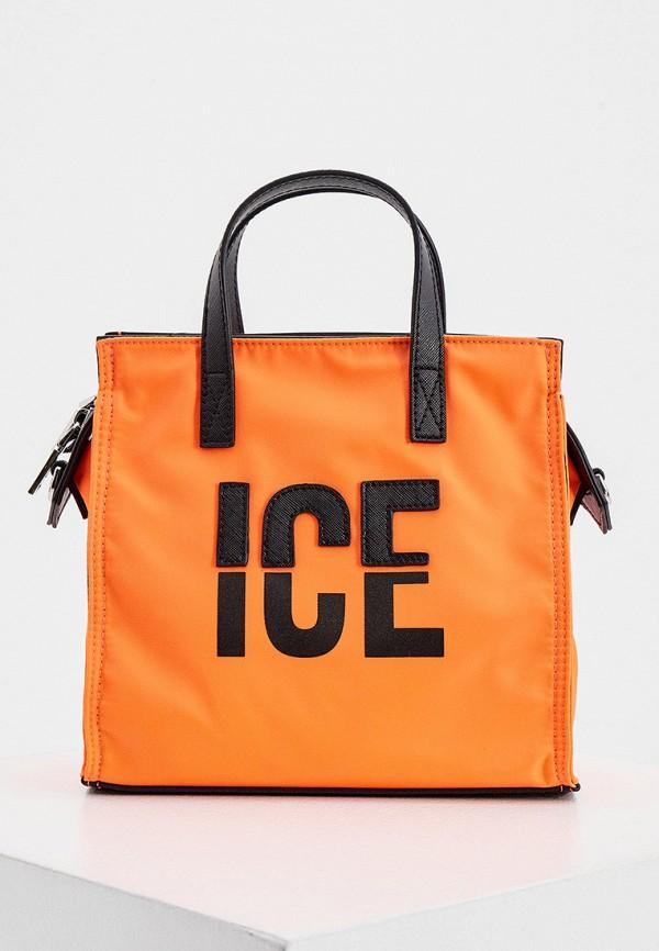 женская сумка с ручками ice play, оранжевая