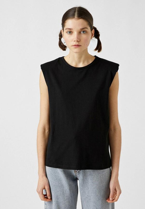 женская футболка koton, черная
