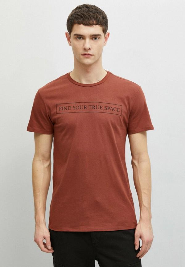 мужская футболка с коротким рукавом koton, бордовая