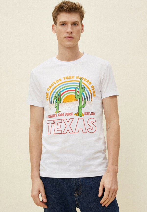 мужская футболка с коротким рукавом koton, белая