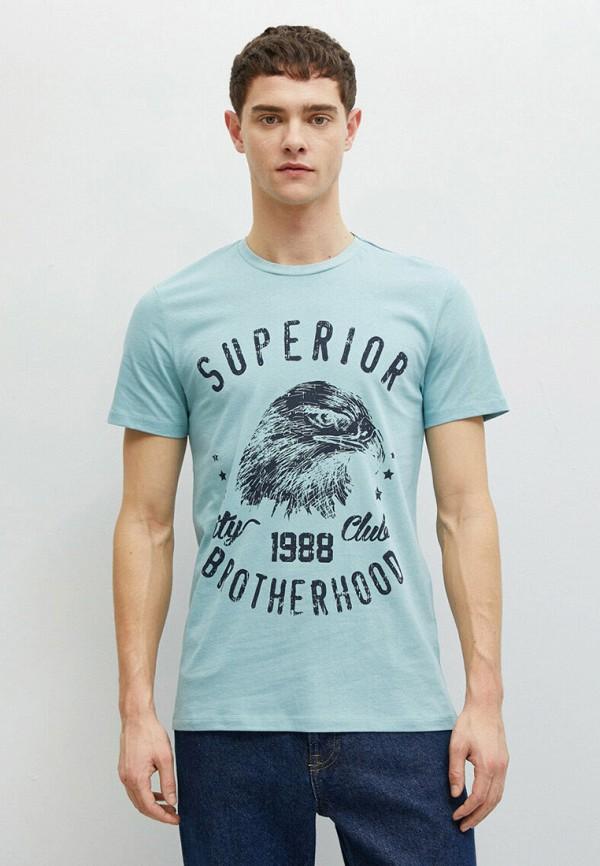 мужская футболка с коротким рукавом koton, голубая